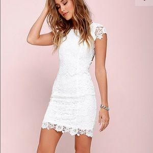 Lulus Hidden Talent Backless Ivory Lace Dress